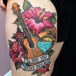 inkin - tatouage musique et fleur sur la cuisse - momentum tattoo.jpg