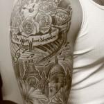 inkin - tatouage montre old school sur épaule - trilogy