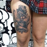 inkin - tatouage chat dandy sur cuisse - bodyfication.jpg