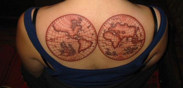 Tatouage carte du monde - inkin