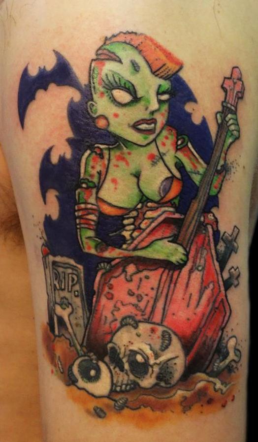 inkin - tatouage de pin up punk et zombie - par sté - l'ile aux tatouages
