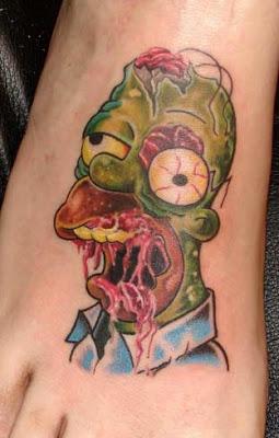 inkin - tatouage homer simpson zombie sur pied