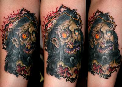 inkin - tatouage jésus zombie sur bras