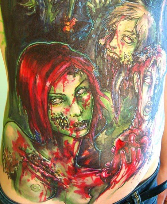 inkin - tatouage zombie fille rousse sur côtes