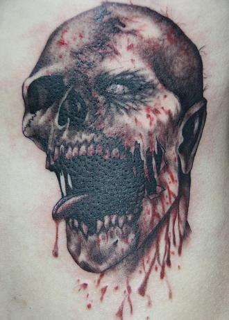 inkin - tatouage zombie noir et rouge