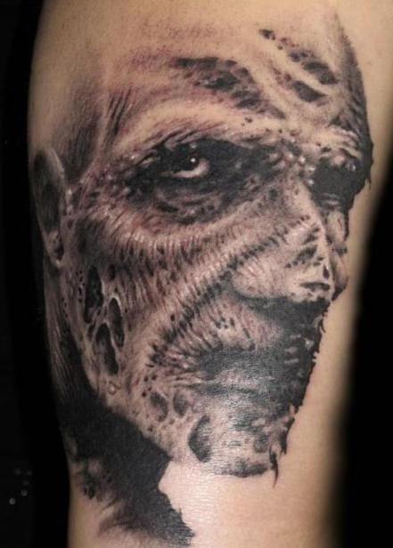 inkin - tatouage zombie réaliste noir et blanc