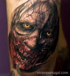 inkin - tatouage zombie realiste - victor portugal