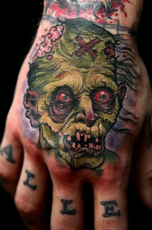 inkin - tatouage zombie vert sur main