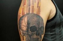 tatouage de crane graphique par Xoil
